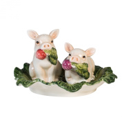 Fitz and Floyd French Market Collection, Salt and Pepper Shaker Set, White/Green/Pink