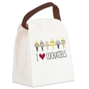CafePress Canvas Lunch Bag - I Love Cockatiels Canvas Lunch Bag - Khaki