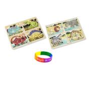 Melissa & Doug 4-in-1 Dinosaur And Safari Jigsaw Puzzle with Dimple Bracelet