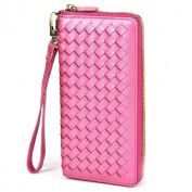 Lackingone RFID Blocking Wallet RFID Wallets For Women Genuine Handmade Leather Purse Secure Safe Woven Hot Pink