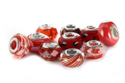 BRCbeads Top Quality 10Pcs Mix Silver Plate RED THEME Murano Lampwork European Glass Crystal Charms Beads Spacers Fit Pandora Troll Chamilia Carlo Biagi Zable Snake Chain Charm Bracelets.