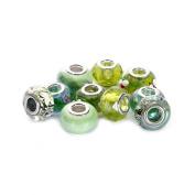 BRCbeads Top Quality 10Pcs Mix Silver Plate GREEN THEME Murano Lampwork European Glass Crystal Charms Beads Spacers Fit Pandora SnTroll Chamilia Carlo Biagi Zableake Chain Charm Bracelets.
