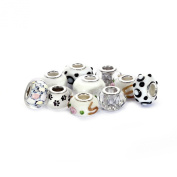 BRCbeads Top Quality 10Pcs Mix Silver Plate WHITE THEME Murano Lampwork European Glass Crystal Charms Beads Spacers Fit Pandora Troll Chamilia Carlo Biagi Zable Snake Chain Charm Bracelets.