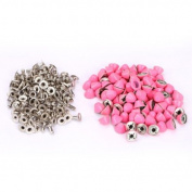 Dealglad 100pcs 10mm Flat Head Rivet Spike Stud Bag Leather Craft DIY Rock Pink