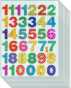 Jazzstick 360 Smiling Glitter 1-9 Number Stickers Small Value Pack 10 sheets 08A11