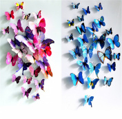 HAKDAY 3D Butterfly 12 PCS for Blue and 12 PCS For Purple Wall Stickers Crafts Butterflies