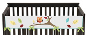 Sweet Jojo Designs Hooty Owl Long Front Rail Guard Baby Teething Cover Crib Protector Wrap