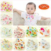Elesa Miracle Baby and Toddler Bandana Drool Bibs, 10-pack Value Set, Absorbent Cotton with Adjustable Snaps