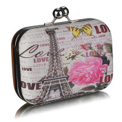 Womens Clutch Bag Ladies Hard Case Kiss Lock Evening Prom Party Handbag