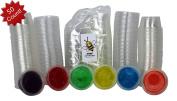 Disposable 60ml Plastic Condiment Cups with Lids, Souffle Portion, Jello Shot Cups, Salad Dressing, Sauce