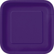 18cm Square Deep Purple Party Plates, Pack of 16