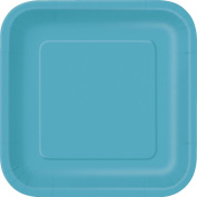 18cm Square Teal Party Plates, Pack of 16