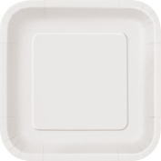 18cm Square White Party Plates, Pack of 16