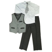 TFW Boys Holiday Outfit Dress Shirt Clip Tie Grey Vest & Slacks 6