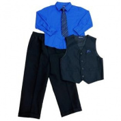 Jonathan Strong Boys Dress Wear Blue Shirt with Tie Vest & Slacks 5