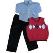 Arrow Boys Holiday Outfit Dress Shirt Red Argyle Sweater Vest & Slacks 4