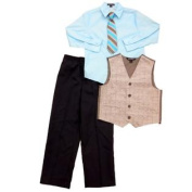 George Boys Holiday Outfit Blue Dress Shirt with Tie Vest & Slacks 6