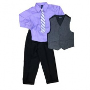 Jonathan Strong Boys Holiday Outfit Purple Dress Shirt with Tie Vest & Slacks 5