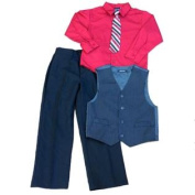 TFW Boys Holiday Outfit Red Dress Shirt Clip Tie Pinstripe Vest & Slacks 6