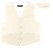 BOY'S Solid CREAM Colour Dress Vest BOW TIE Set size 10