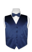 BOY'S Solid NAVY BLUE Colour Dress Vest BOW TIE Set size 6