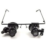 Z ZTDM 20x Magnifying Glass Headset Loupe Magnifier Lens Visor with 2 LED Light
