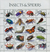 Insects and Spiders, Full Sheet of 20 x 33-Cent Postage Stamps, USA 1999, Scott 3351