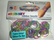 Rubbzy Tie Dye Glitter Pink Purple Yellow Green Loose Rubber Bands