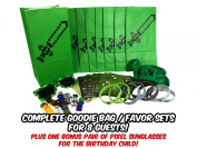 Party Favours for Miner Themed Birthday Party (8 Pack) - Birthday Party Supplies- Bags, Stickers, Wristbands, MINI Character Toys, Balloons & one BONUS Pair of Sunglasses for the Birthday Child!