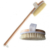 Best Dry Body Brush With Free Wet Exfoliating Gloves By Brooklyn Beauty-High Quality 41cm Wooden Brush With Extra Long Bristles For Gentle Scrubbing-Convenient Detachable Oval Head With Cotton Strap