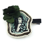 rougecaramel - Hair Accessories Hair Clip With Flower - Green