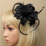 Allsorts® Black Beaded Feather Fascinator Beak Clip Brooch Pin