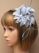 Allsorts® Grey Beaded Feather Fascinator Beak Clip Brooch Pin