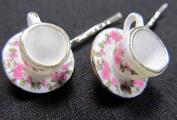 Miniblings Cups Set of 2 Hair Clips Hair Pins Tea Cup Mugs Teatime Pink