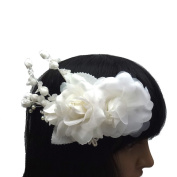 rougecaramel - Hair Accessories - Pearl Rhinestone Headdress Flower for Wedding - White