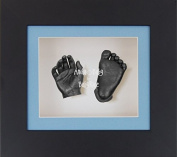 BabyRice 3D Baby Boy Casting Kit Black Box Display Frame Pewter Foot Casts