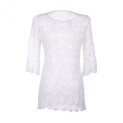 White Lace V-Neck Beach Swimsuit Cover Up