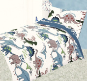 COT BED DUVET COVER WITH PILLOWCASE- SUPERIOR NATURAL COTTON RICH 120 X 150 CM - DINOSAURS