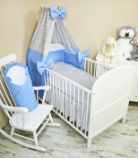 Baby Bedding Set 5 Pieces Bedding Set with Cot Bumper, Canopy Children's Bed Linen 100 x 135 cm BRAND NEW Vollstoff Sky Polka Dot Jeans