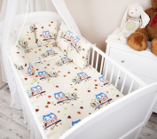 Baby Cot Bed Bumper with 210 cm Owl Design Ecru/Blue Cot Bumper Edge Protection Head Guard for Cot Bed