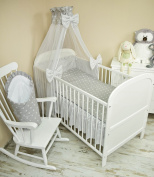 Baby Bedding Set 5 Pieces Bedding Set with Cot Bumper, Canopy Children's Bed Linen 100 x 135 cm BRAND NEW Chiffon Sky Stars Grey