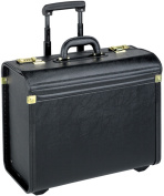 Solo Black Vinyl Rolling Catalogue Case with Telescoping Handle