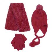 Toby Girls Plush Pink Scarf Hat Gloves Set Peruvian Beanie