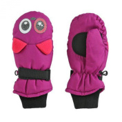Aquarius Girls Purple Kitty Cat Snow & Ski Mittens Fleece & Thinsulate Lining