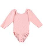 Jacques Moret Big Girls' 3/4 Sleeve Dance Leotard (Sizes 7 - 16) - pink, 8 - 10