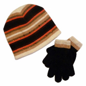 Faded Glory Girls Brown & Pink Stripes Sequin Hat & Gloves Beanie Set