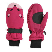 Aquarius Girls Fuchsia Pink Fox Snow & Ski Mittens Fleece & Thinsulate Lining