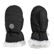 Aquarius Girls Black Faux Fur Trim Snow & Ski Mittens Fleece & Thinsulate Lining