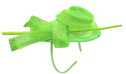 Ladies Lime Green Sinamay Fascinator Aliceband with Loops and Wooden Tendril