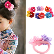 cuhair(TM) fashion 6pcs (1pc/colour) girl baby kids elastic hair ponytail holders hair tie bands rubber rope acessories double flower design